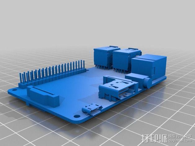 树莓派面板 3D模型  图2