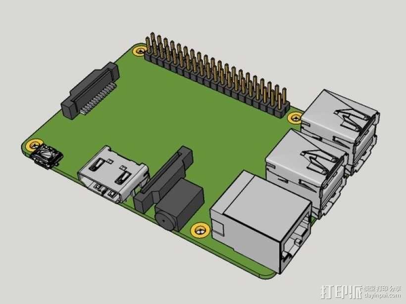树莓派面板 3D模型  图1