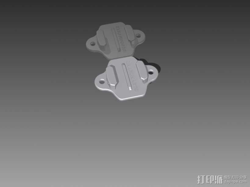 GoPro Hero相机支架安装部件 3D模型  图1