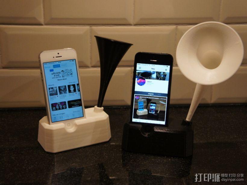 Iphone 4, 4S, 5 ,5s手机扩音器支架 3D模型  图1