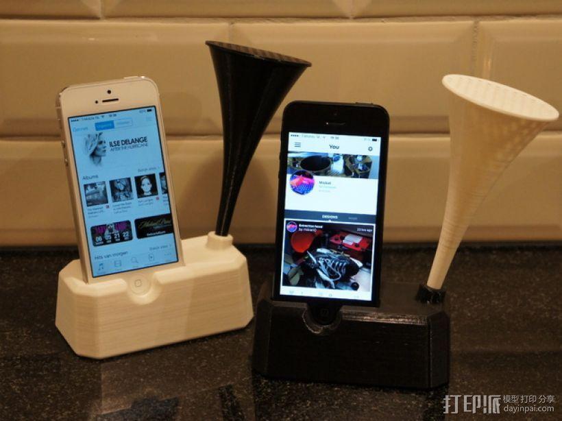Iphone 4, 4S, 5 ,5s手机扩音器支架 3D模型  图2