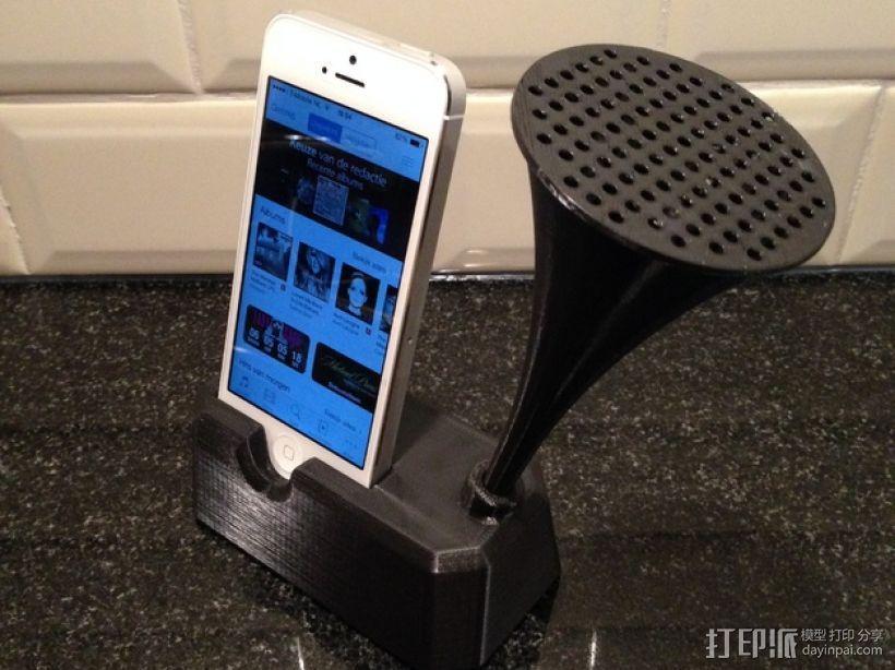 Iphone 4, 4S, 5 ,5s手机扩音器支架 3D模型  图6