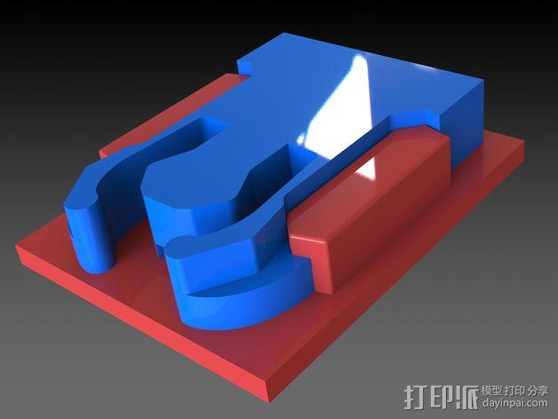 GoPro Hero 3相机底座 固定架 3D模型  图2