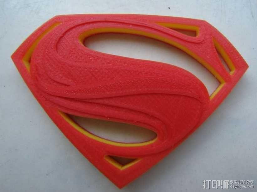 超人钢铁之躯 标志  3D模型  图1