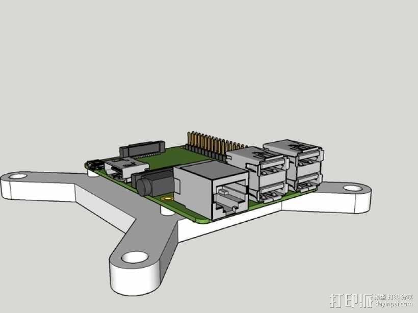 树莓派显示器支架 3D模型  图1