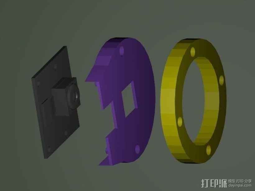 树莓派相机透镜支架 3D模型  图4