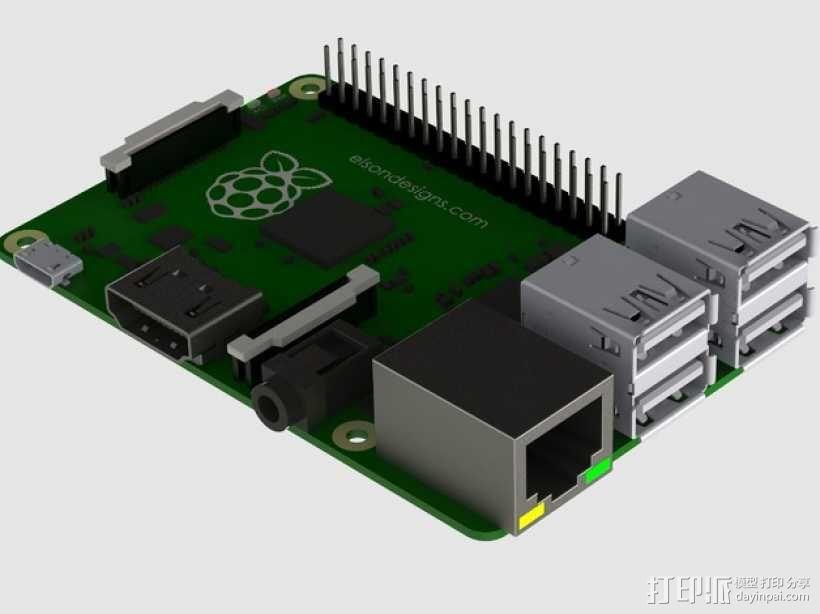 树莓派电路板模型 3D模型  图1
