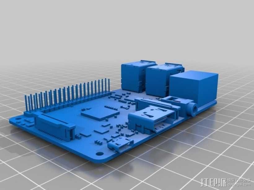 树莓派电路板模型 3D模型  图2