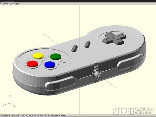 SNES游戏机手柄 3D模型  图3