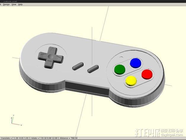 SNES游戏机手柄 3D模型  图2