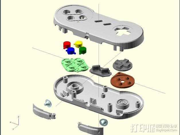SNES游戏机手柄 3D模型  图6