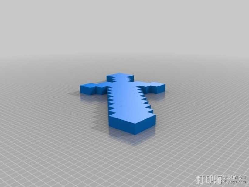 我的世界钻石剑 3D模型  图1