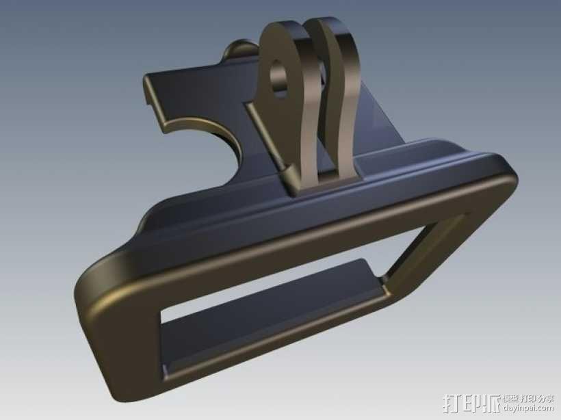 GoPro Hero 2相机保护框夹子 3D模型  图2