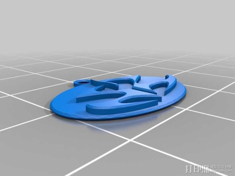 刺客标志钥匙坠 3D模型  图1