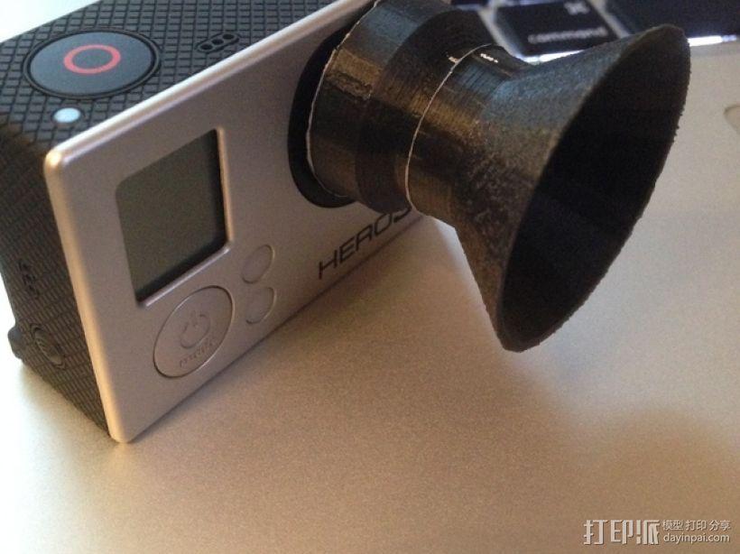 Gopro Hero 3+镜头遮光罩 保护罩 3D模型  图3