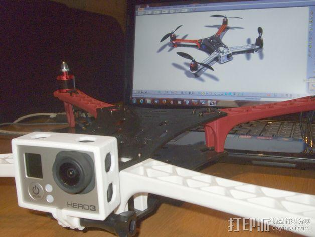 GoPro Hero 3相机四轴支撑架 3D模型  图5