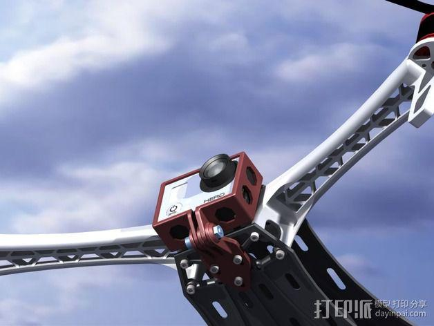 GoPro Hero 3相机四轴支撑架 3D模型  图10