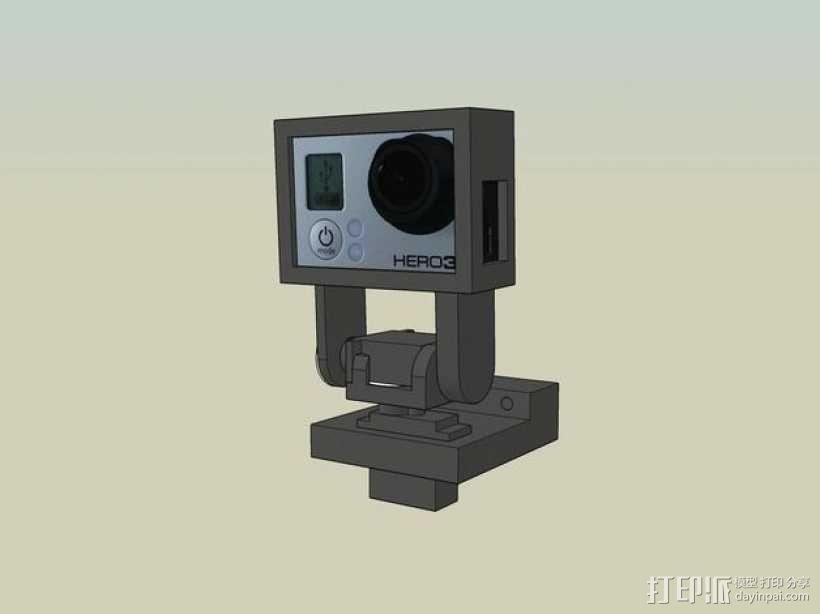 Gopro Hero 3摄像头固定槽 3D模型  图1