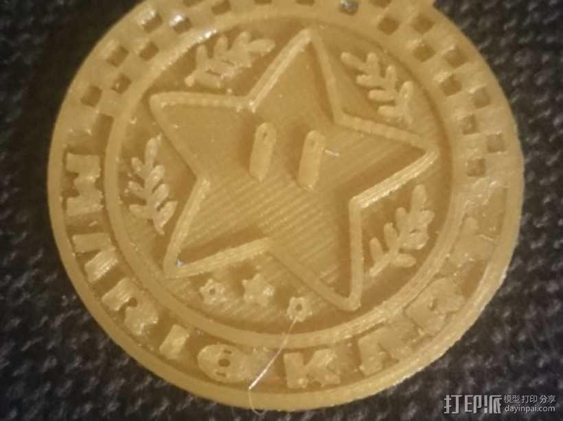 马里奥小星星徽章奖牌 3D模型  图1