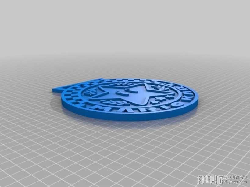 马里奥小星星徽章奖牌 3D模型  图2