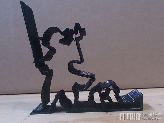 尤达大师手机支撑架 3D模型  图5