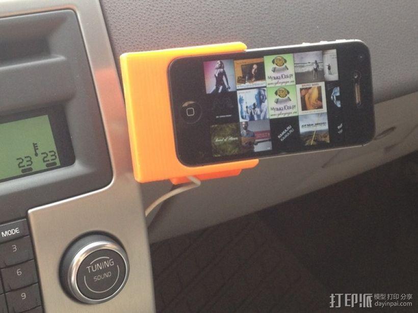 车载式iPhone 4/4s手机充电座 3D模型  图1