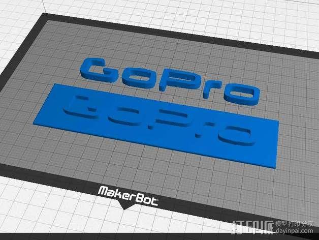 GOPRO相机品牌LOGO 3D模型  图2