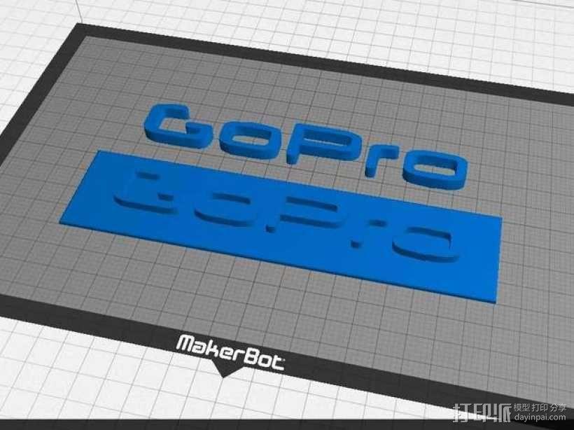 GOPRO相机品牌LOGO 3D模型  图1
