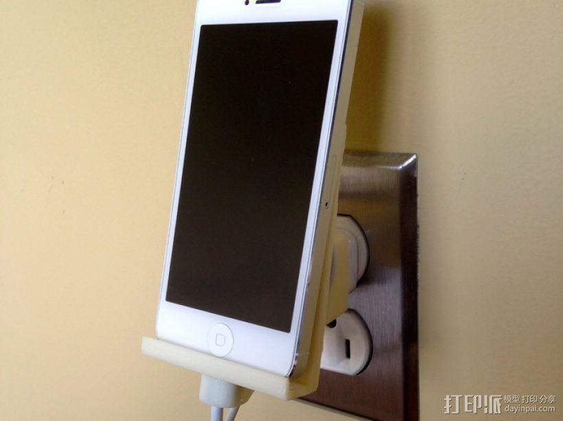 壁挂式iPhone 5手机充电座 3D模型  图1