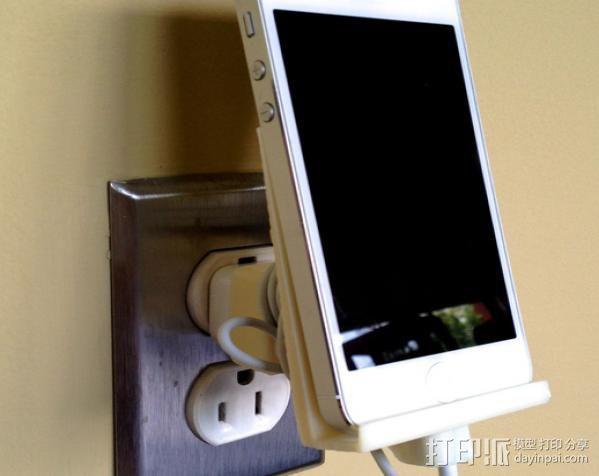 壁挂式iPhone 5手机充电座 3D模型  图5
