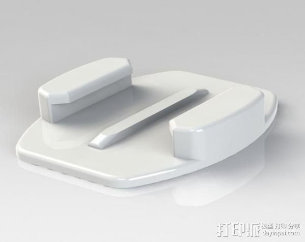 GoPro 相机平底底座 3D模型  图1