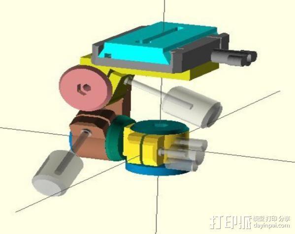 三脚架连接头 3D模型  图2