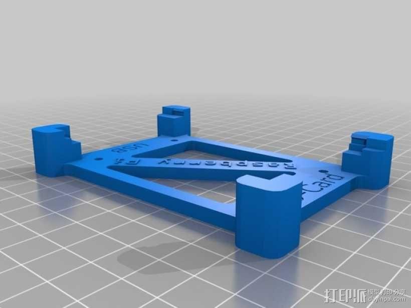 树莓派电路板保护框 3D模型  图1