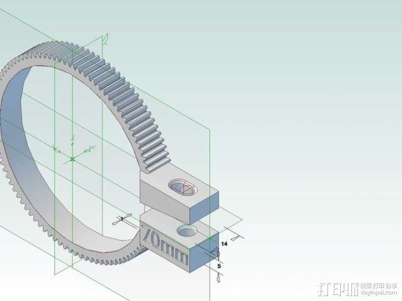 齿轮跟焦器 3D模型  图1