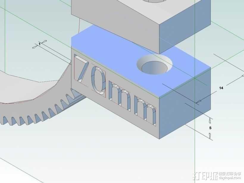 齿轮跟焦器 3D模型  图2