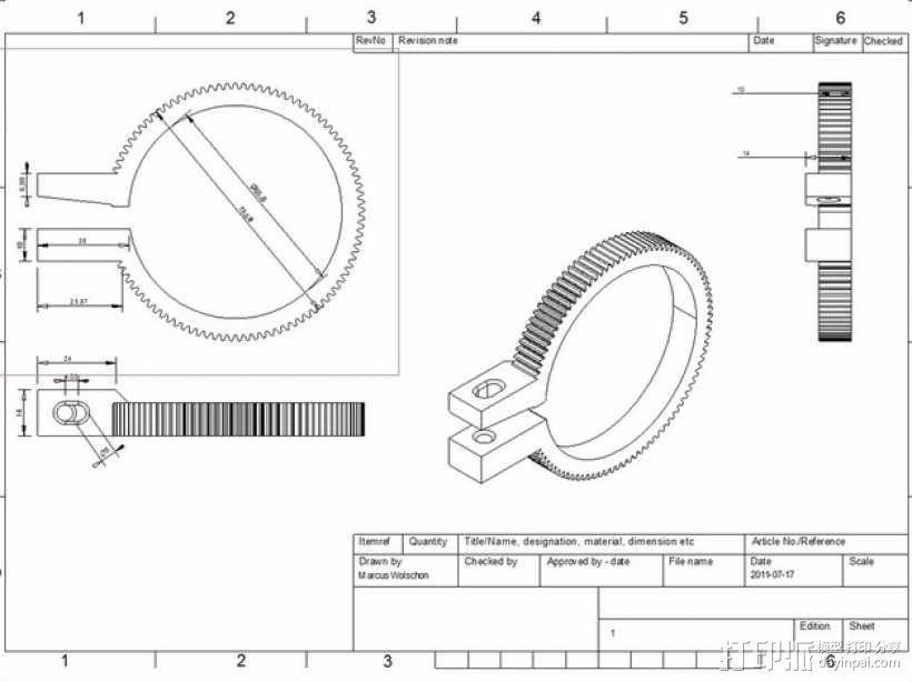 齿轮跟焦器 3D模型  图3