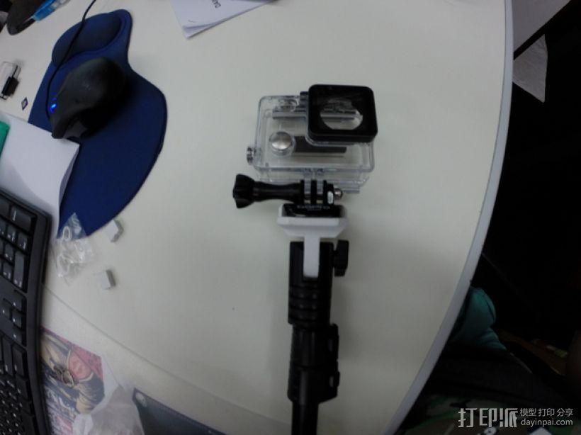 GoPro相机的单脚架连接器 3D模型  图1