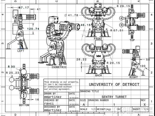 边防要塞 机器人 哨兵 3D模型  图3