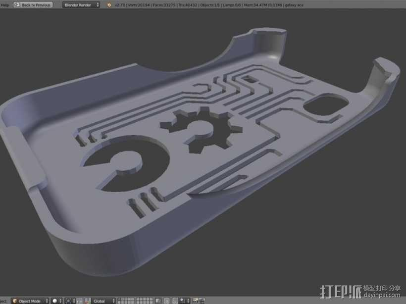 三星Galaxy Ace GT-S5830 甲板手机套 3D模型  图1
