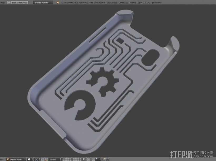 三星Galaxy Ace GT-S5830 甲板手机套 3D模型  图4