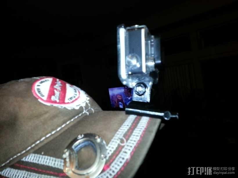 Go Pro相机支架 棒球帽 3D模型  图1