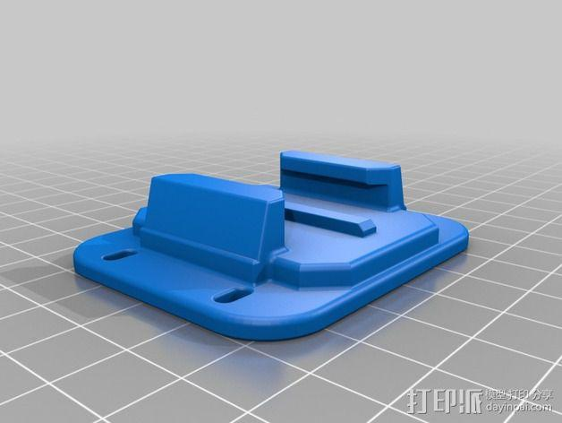极限运动相机束带-拉链连接板 3D模型  图2