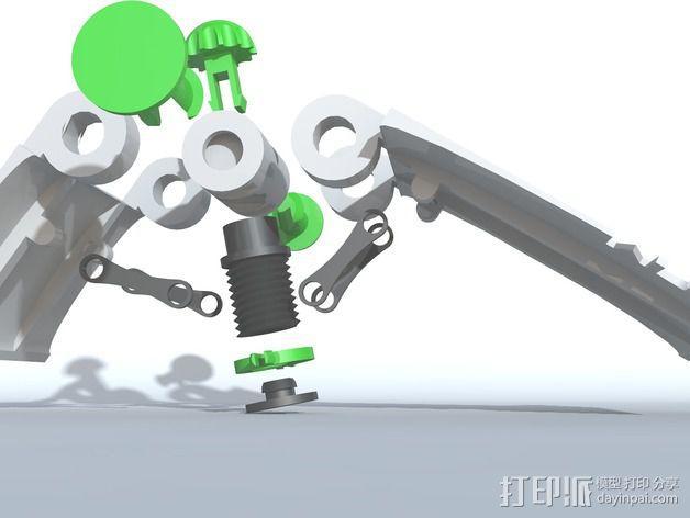 可调整式平板站架 3D模型  图3