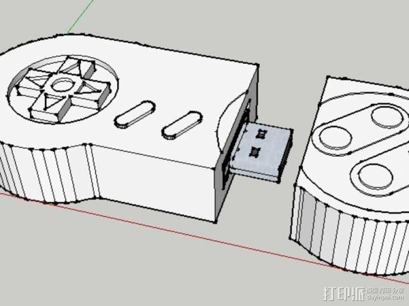 SNES闪存盘保护套 3D模型  图3