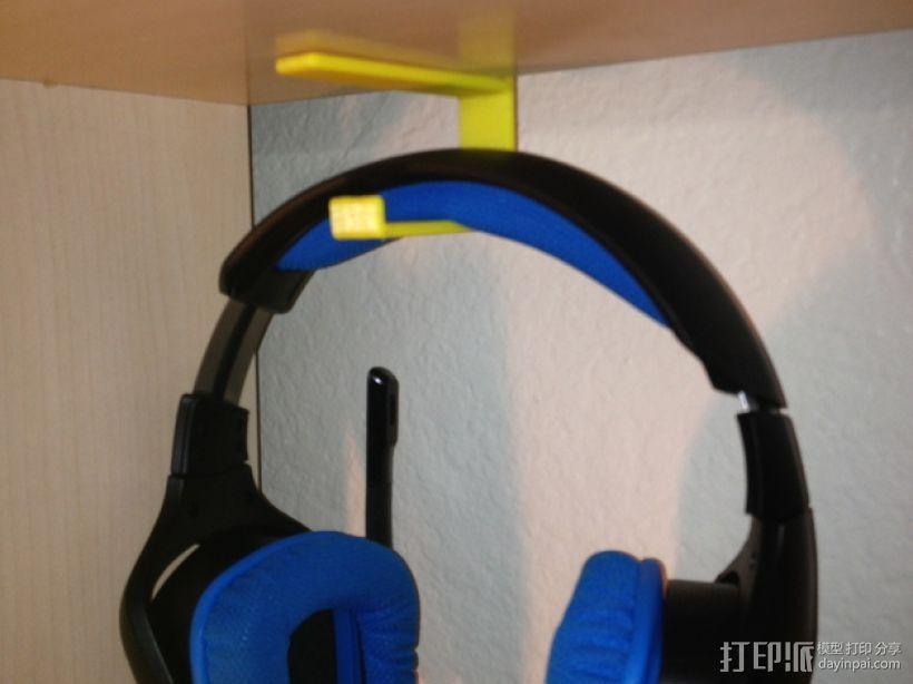 书架耳机挂钩 3D模型  图1