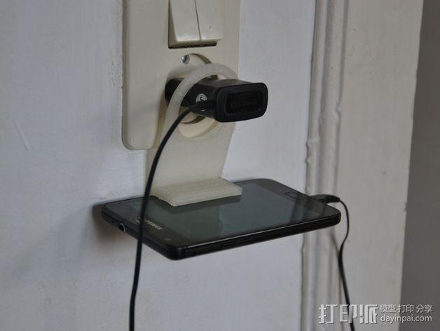 墙体插座手机支架 3D模型  图2