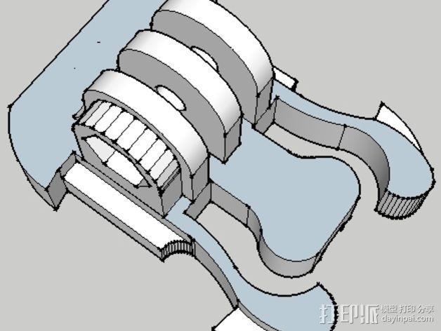 GoPro相机座连接器 3D模型  图2