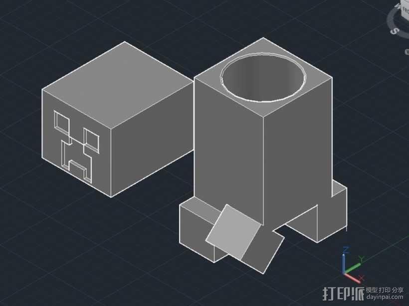 我的世界 爬行者 罐子  3D模型  图1