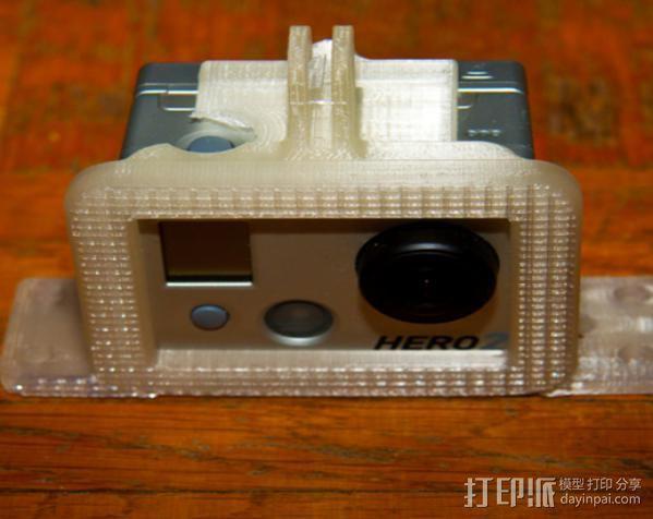 GoPro Hero 2 相机保护框 相机支架 3D模型  图1