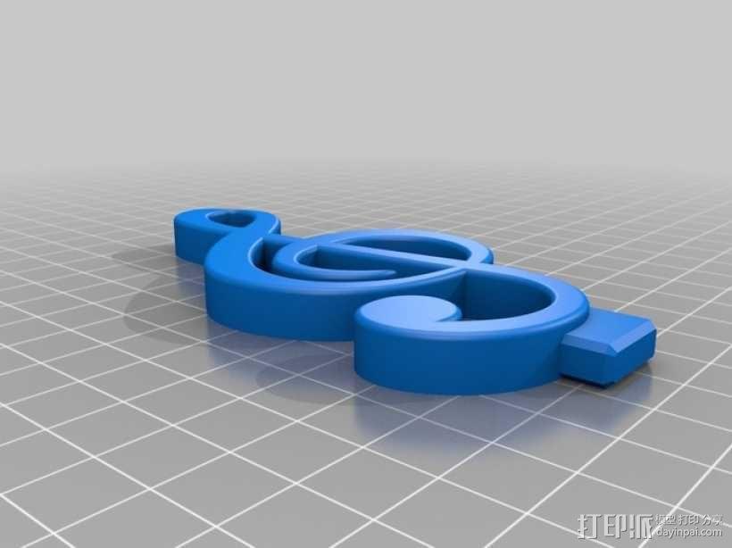 音符手机支架 3D模型  图2